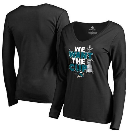 San Jose Sharks Fanatics Branded Women's 2017 NHL Stanley Cup Playoff Participant Blue Line V Neck Long Sleeve T Shirt Black
