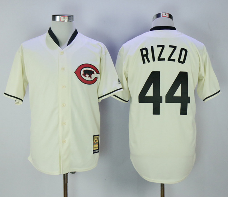 Cubs 44 Anthony Rizzo Cream Throwback Jersey