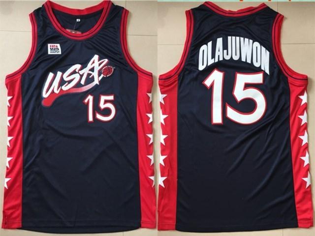 USA 15 Hakeem Olajuwon Black Dream Team III Jersey