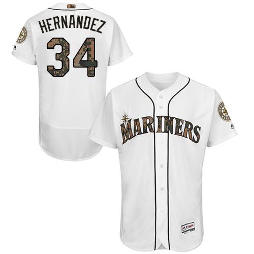 Mariners 34 Felix Hernandez White Memorial Day Flexbase Jersey