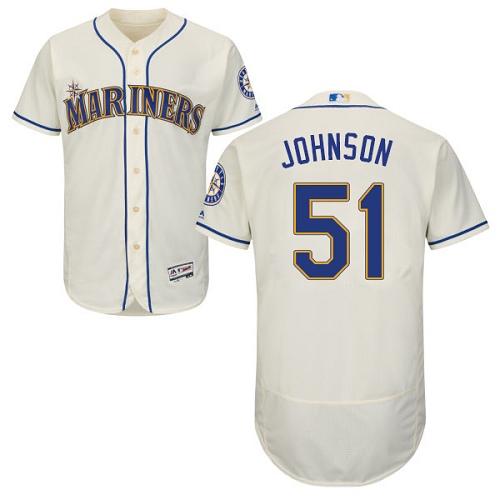 Mariners 51 Randy Johnson Cream Flexbase Jersey