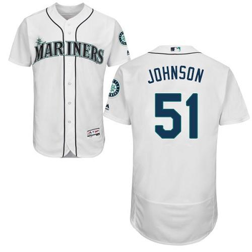 Mariners 51 Randy Johnson White Flexbase Jersey