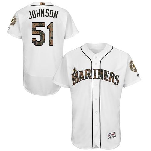 Mariners 51 Randy Johnson White Memorial Day Flexbase Jersey