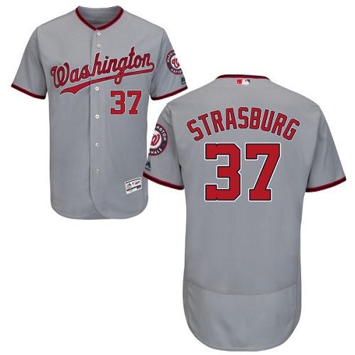 Nationals 37 Stephen Strasburg Gray Flexbase Jersey