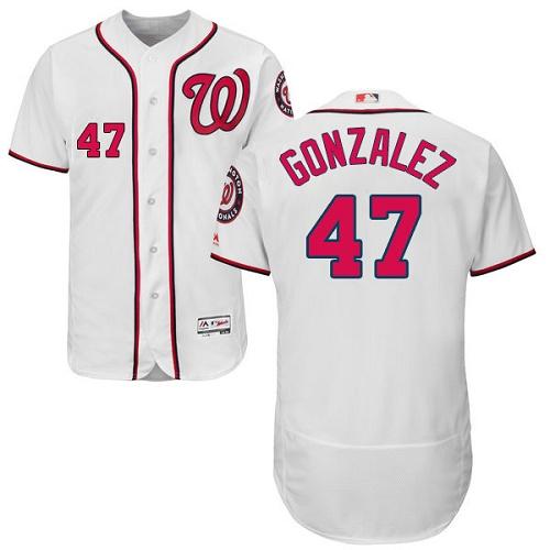 Nationals 47 Gio Gonzalez White Flexbase Jersey
