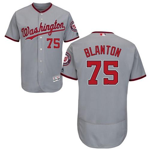 Nationals 75 Joe Blanton Gray Flexbase Jersey