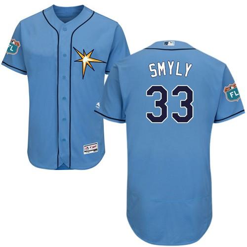 Rays 33 Drew Smyly Light Blue Flexbase Jersey