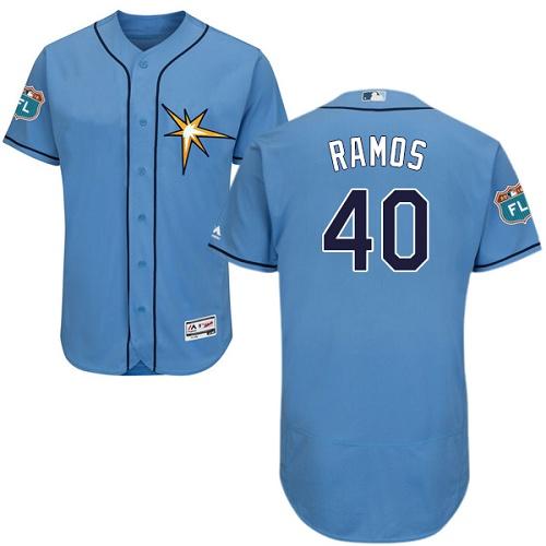 Rays 40 Wilson Ramos Light Blue Flexbase Jersey