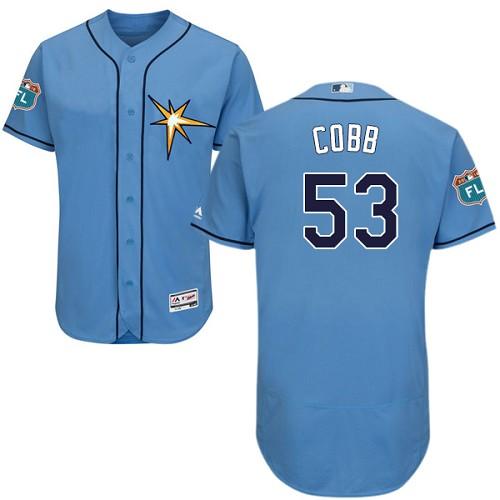 Rays 53 Alex Cobb Light Blue Flexbase Jersey