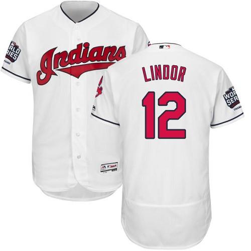 Indians 12 Francisco Lindor White 2016 World Series Flexbase Jersey