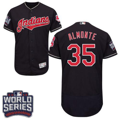 Indians 35 Abraham Almonte Navy 2016 World Series Flexbase Jersey