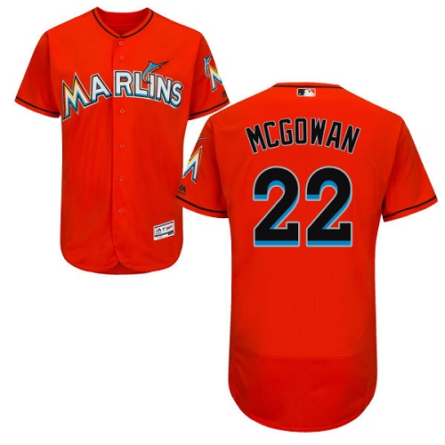 Marlins 22 Dustin McGowan Orange Flexbase Jersey