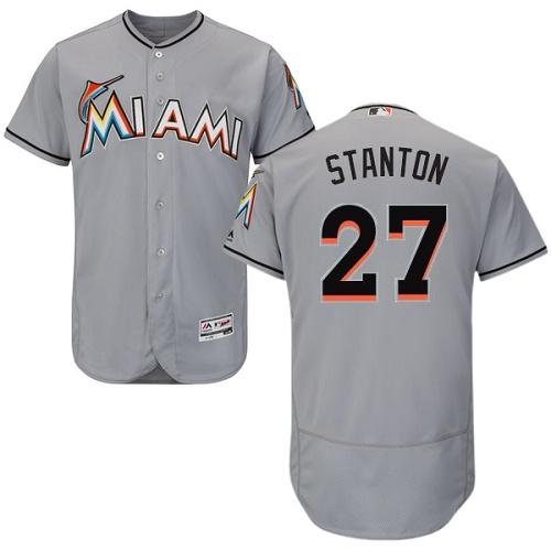 Marlins 27 Giancarlo Stanton Gray Flexbase Jersey