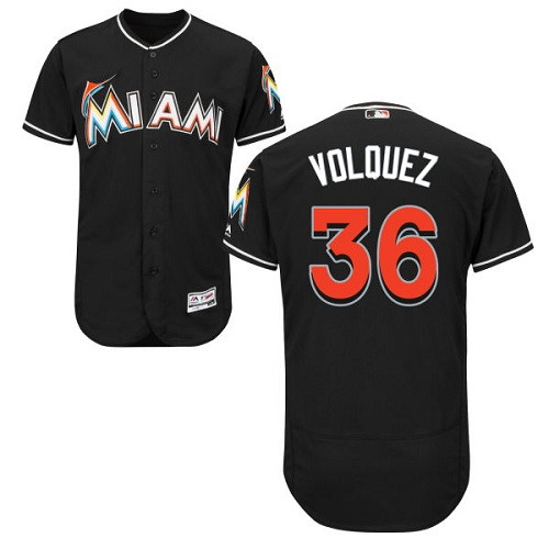 Marlins 36 Edinson Volquez Black Flexbase Jersey