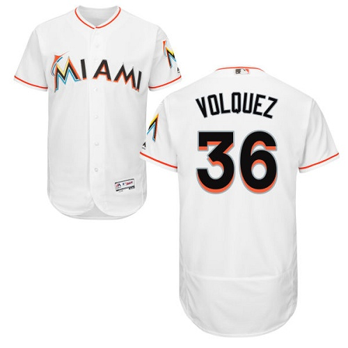 Marlins 36 Edinson Volquez White Flexbase Jersey
