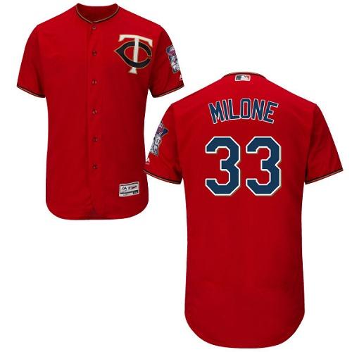 Twins 33 Tommy Milone Red Flexbase Jersey