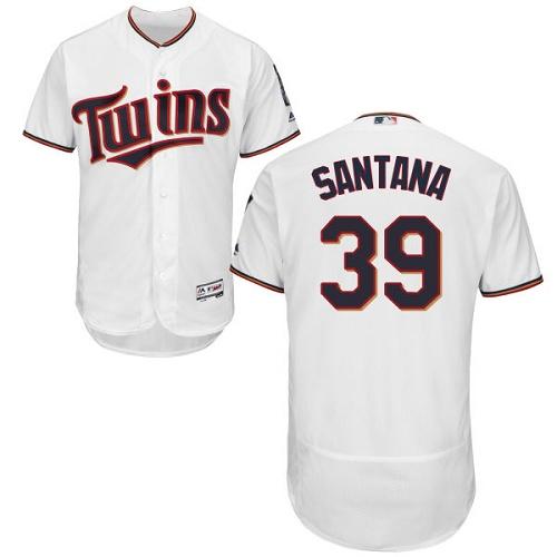 Twins 39 Danny Santana White Flexbase Jersey
