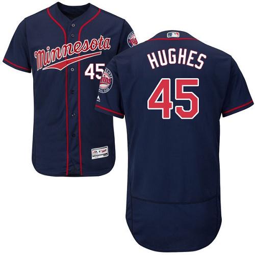 Twins 45 Phil Hughes Navy Flexbase Jersey