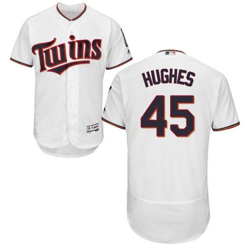 Twins 45 Phil Hughes White Flexbase Jersey