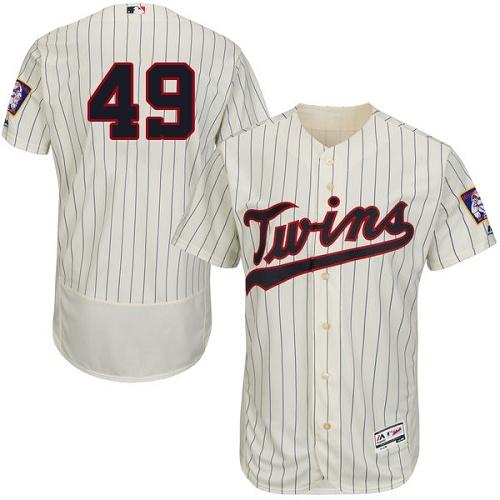 Twins 49 Kevin Jepsen Cream Flexbase Jersey