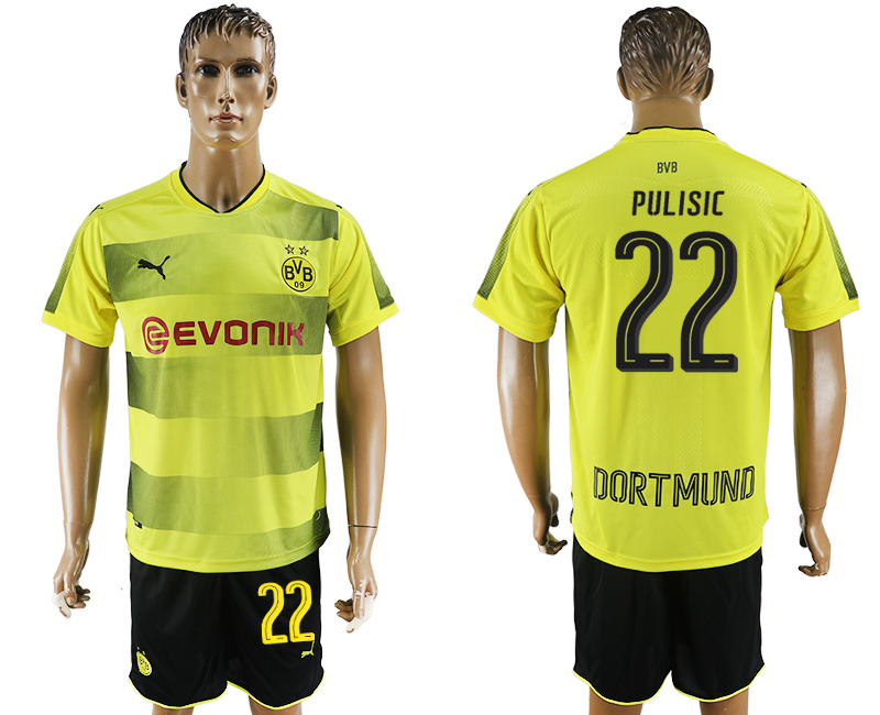 2017-18 Dortmund 22 PULISIC Home Soccer Jersey