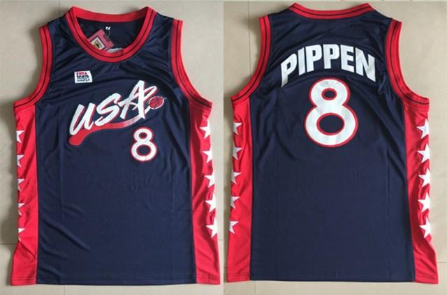 Team USA Basketball 8 Scottie Pippen Navy Jersey