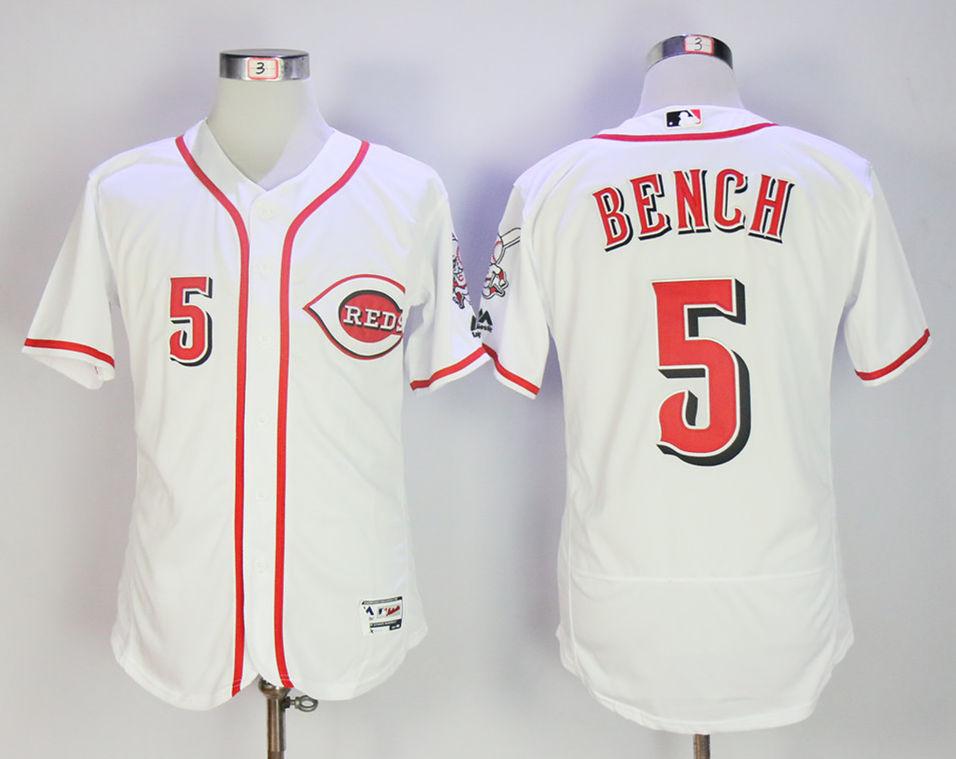 Reds 5 Johnny Bench White Flexbase Jersey