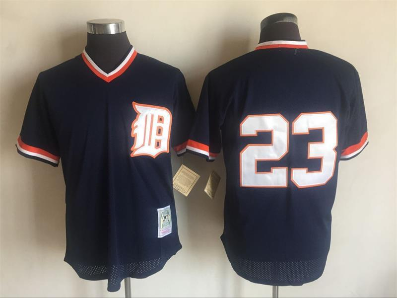 Tigers 23 Kirk Gibson Navy 1984 Cooperstown Collection Batting Practice Jersey