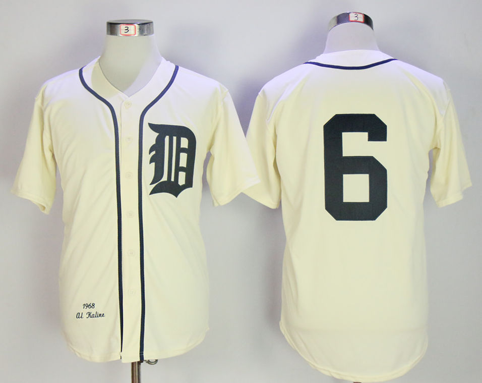 Tigers 6 Al Kaline Cream 1968 Throwback Jersey