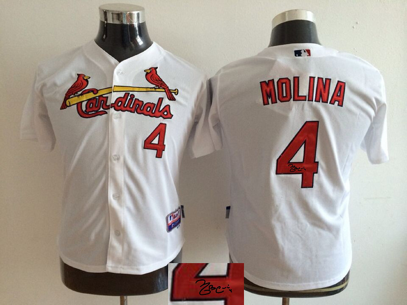 Cardinals 4 Yadier Molina White Youth Signature Edition Cool Base Jersey