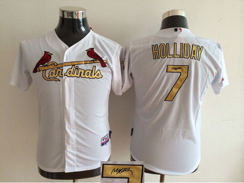 Cardinals 7 Matt Holiday White With Gold Number Youth Signature Edition Cool Base Jersey
