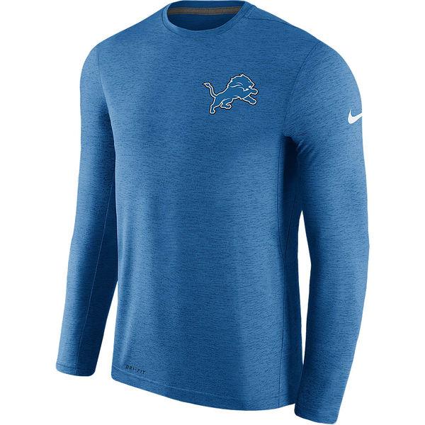 Men's Detroit Lions Nike Blue Coaches Long Sleeve Performance T-Shirt