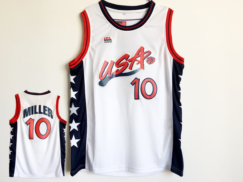 USA 10 Reggie Miller White Dream Team III Jersey