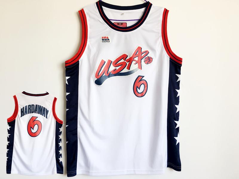 USA 6 Penny Hardaway White Dream Team III Jersey