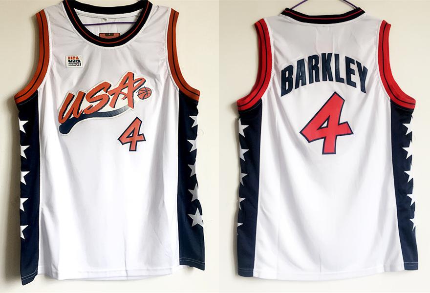 USA 4 Charles Barkley White Dream Team III Jersey