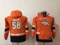 Denver Broncos 58 Von Miller Orange Youth All Stitched Hooded Sweatshirt
