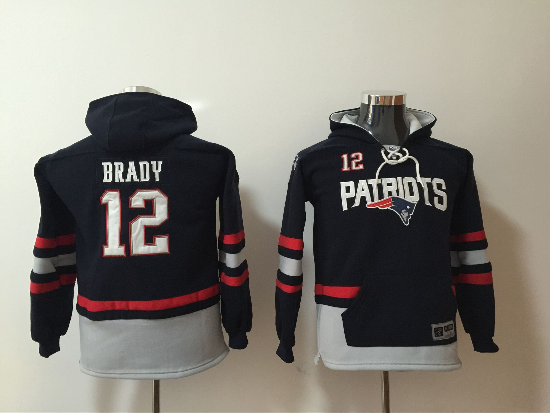 New England Patriots 12 Tom Brady Navy Youth All Stitched Hooded Sweatshirt