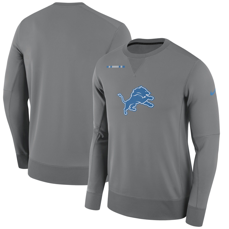 Men's Detroit Lions Nike Charcoal Sideline Team Logo Performance Sweatshirt