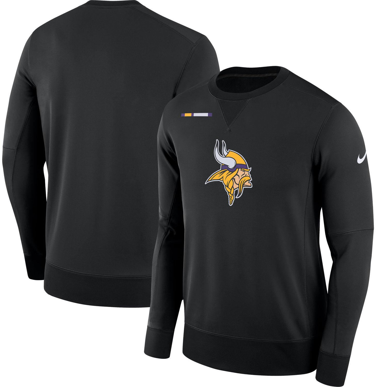 Men's Minnesota Vikings Nike Black Sideline Team Logo Performance Sweatshirt