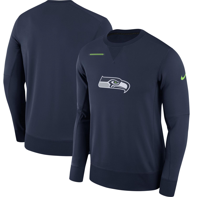 Men's Seattle Seahawks Nike Navy Sideline Team Logo Performance Sweatshirt