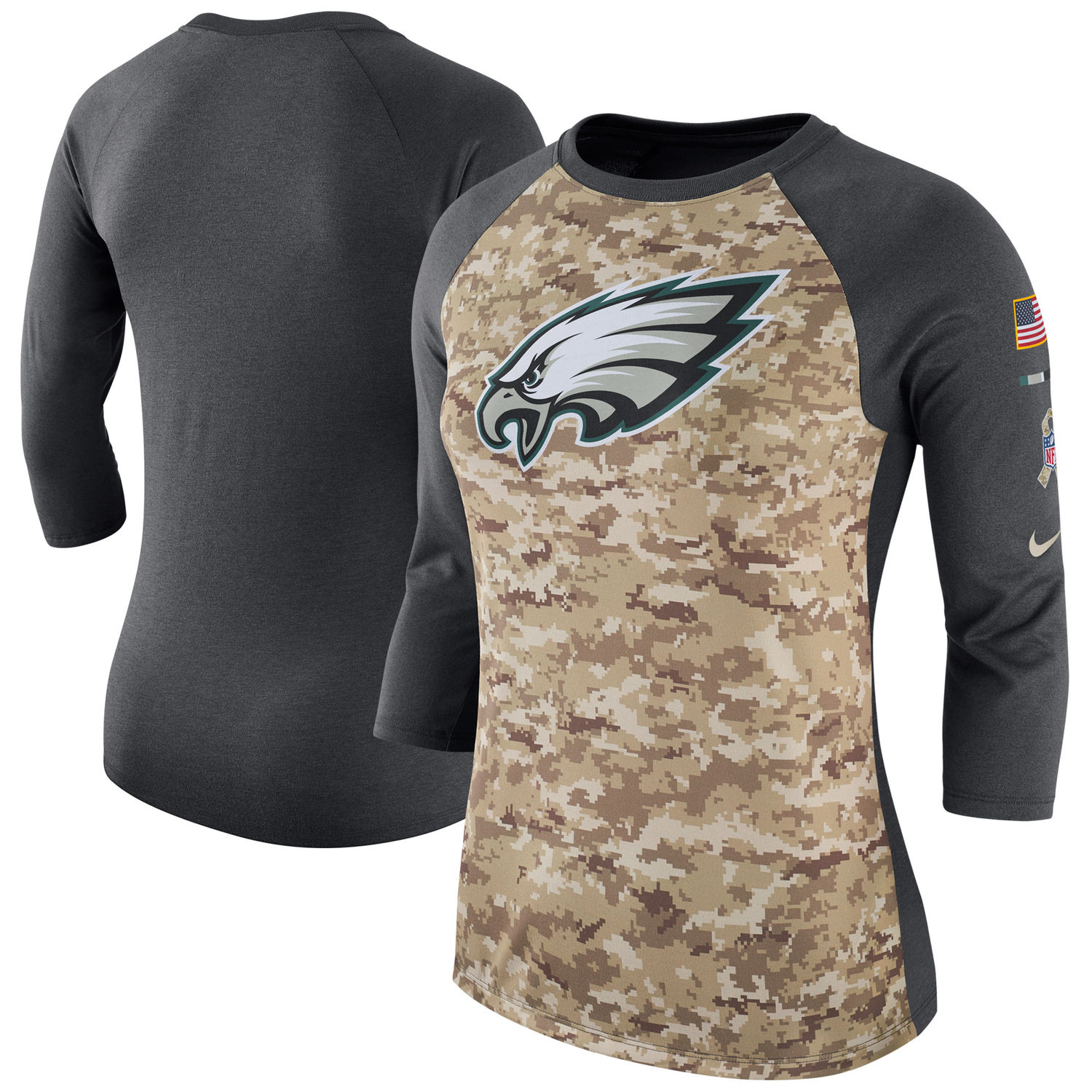 Women's Philadelphia Eagles Nike Camo Charcoal Salute to Service Legend Three-Quarter Raglan Sleeve T Shirt