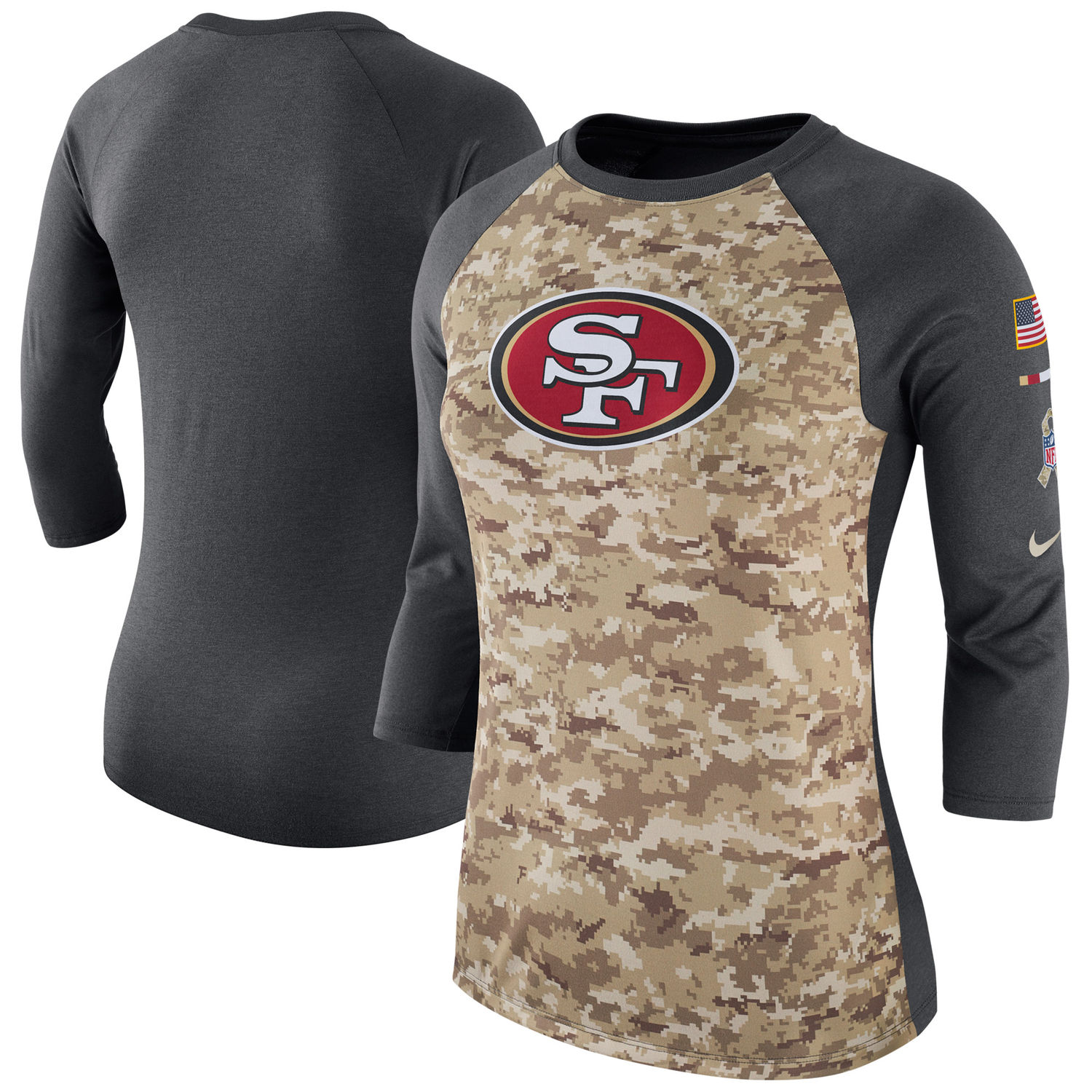 Women's San Francisco 49ers Nike Camo Charcoal Salute to Service Legend Three-Quarter Raglan Sleeve T Shirt