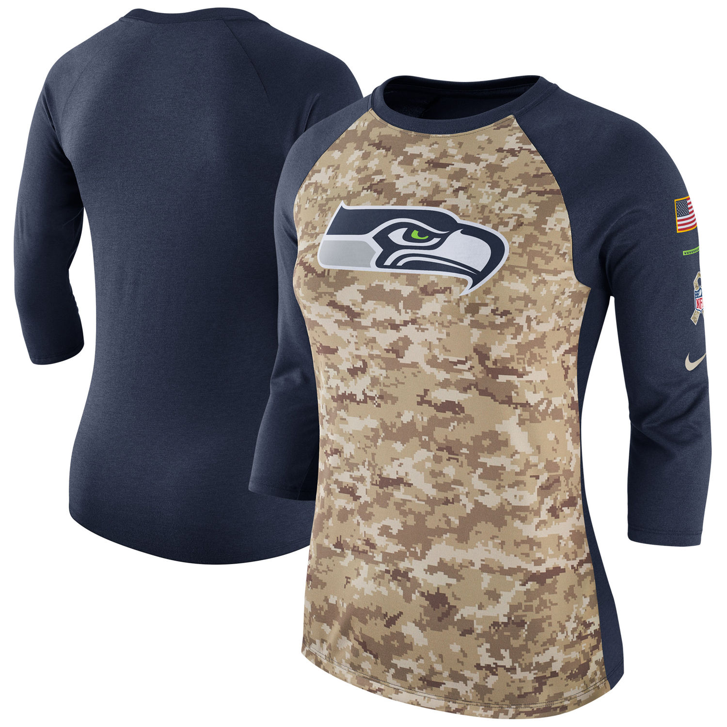 Women's Seattle Seahawks Nike Camo Navy Salute to Service Legend Three-Quarter Raglan Sleeve T Shirt