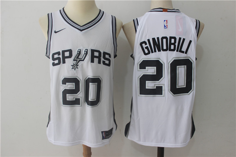 Spurs 20 Manu Ginobili White Nike Authentic Jersey