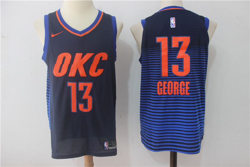 Thunder 13 Paul George Navy Nike Authentic Jersey