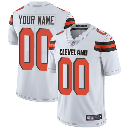 Nike Browns White Men's Customized Vapor Untouchable Player Limited Jersey
