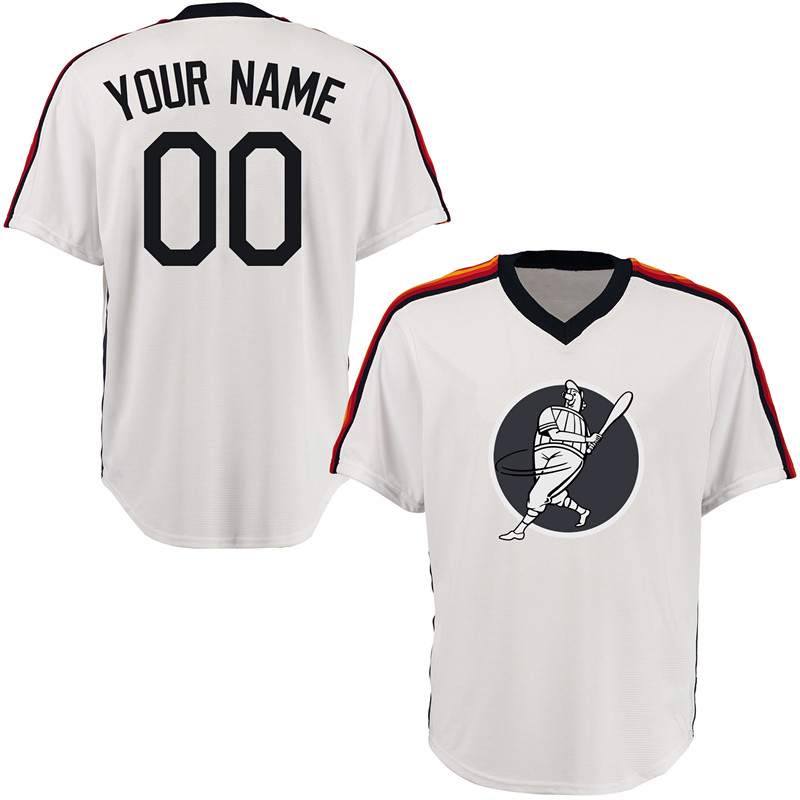 Astros White Men's Customized Throwback New Design Jersey