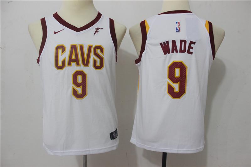 Cavaliers 9 Dwyane Wade White Youth Nike Swingman Jersey