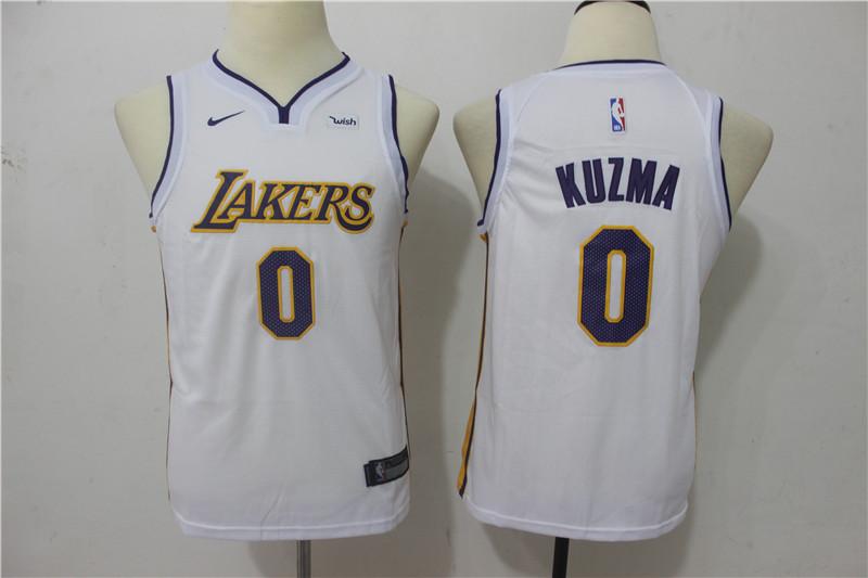 Lakers 0 Kyle Kuzma White Youth Nike Swingman Jersey