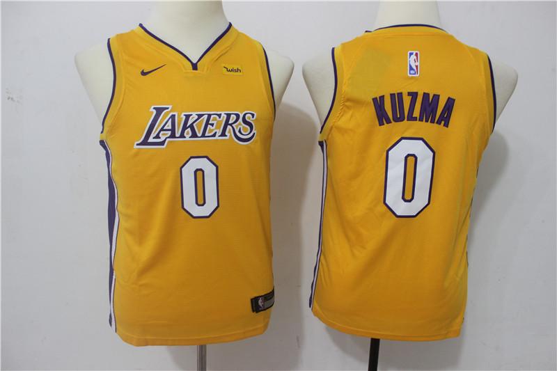 Lakers 0 Kyle Kuzma Yellow Youth Nike Swingman Jersey